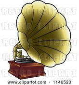 Vector Clip Art of Retro Golden Gramophone by Lal Perera