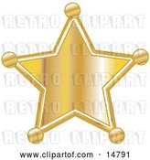 Vector Clip Art of Retro Golden Star Shaped Sheriff's Badge by Andy Nortnik