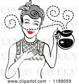 Vector Clip Art of Retro Gray Haired Waitress or Housewife Smelling the Aroma of Fresh Hot Coffee in a Pot by Andy Nortnik