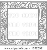 Vector Clip Art of Retro Gray Swirl Floral Frame by BNP Design Studio