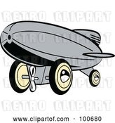 Vector Clip Art of Retro Gray Wind up Toy Blimp by Andy Nortnik