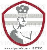 Vector Clip Art of Retro Grayscale American Chef Holding a Spoon in a Red Shield by Patrimonio