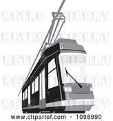 Vector Clip Art of Retro Grayscale Cable Street Car Tram 1 by Patrimonio