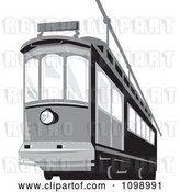 Vector Clip Art of Retro Grayscale Cable Street Car Tram 2 by Patrimonio