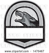 Vector Clip Art of Retro Grayscale German Shepherd Dog in a Shield with Rays by Patrimonio