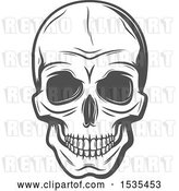 Vector Clip Art of Retro Grayscale Human Skull, in Style by Vector Tradition SM