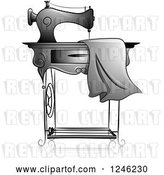 Vector Clip Art of Retro Grayscale Sewing Machine with Fabric by BNP Design Studio
