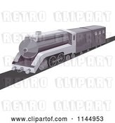 Vector Clip Art of Retro Grayscale Train by Patrimonio