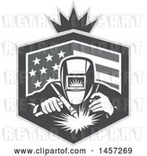 Vector Clip Art of Retro Grayscale Welder Working in an American Flag Shield with a Crown by Patrimonio