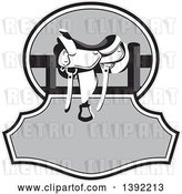 Vector Clip Art of Retro Grayscale Western Saddle on a Fence over Text Space by Patrimonio