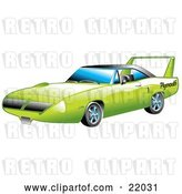 Vector Clip Art of Retro Green 1970 Plymouth Road Runner Superbird Racing Car with a Large Spoiler in the Back by Andy Nortnik