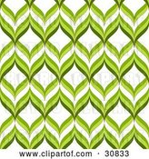Vector Clip Art of Retro Green and White Repeat Background of Green Waves or Leaves by Elaineitalia