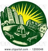 Vector Clip Art of Retro Green Circle of an Urban Landscape and Park with a Yellow Sun by Patrimonio