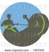 Vector Clip Art of Retro Green Guy Working out on a Rowing Machine, in a Circle by Patrimonio