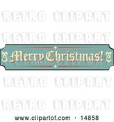 Vector Clip Art of Retro Green, Tan and Red Sign Reading Merry Christmas! by Andy Nortnik