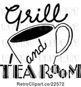Vector Clip Art of Retro Grill and Tea Room Sign by BestVector
