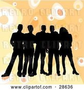 Vector Clip Art of Retro Group of Five Black Silhouetted Friends Standing over a Orange Background with Circles by KJ Pargeter