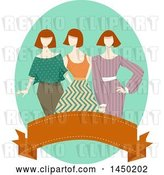 Vector Clip Art of Retro Group of Mannequins in Apparel over a Banner by BNP Design Studio