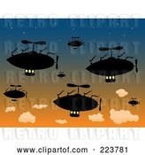Vector Clip Art of Retro Group of Silhouetted Air Ships in a Sunset Sky by Mheld