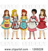 Vector Clip Art of Retro Group of Women in Aprons by BNP Design Studio