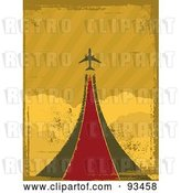 Vector Clip Art of Retro Grungy Airplane Taking off over Clouds by Elaineitalia