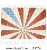 Vector Clip Art of Retro Grungy Antique American Flag Burst Background by Anja Kaiser