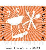 Vector Clip Art of Retro Grungy Styled White Barbeque Silhouette with Silverware over Orange by Mheld