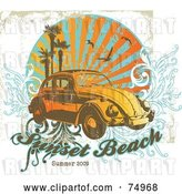 Vector Clip Art of Retro Grungy Vw Beetle Car with Palm Trees, Gulls and Vines with Sample Text by Anja Kaiser