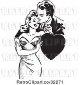 Vector Clip Art of Retro Guy and Lady Romanticly Embracing with a Heart in by Picsburg