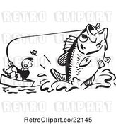 Vector Clip Art of Retro Guy Being Pulled by a Giant Fish by BestVector