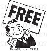 Vector Clip Art of Retro Guy Carrying a Free Sign by BestVector