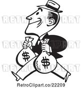 Vector Clip Art of Retro Guy Carrying Two Money Bags by BestVector