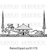 Vector Clip Art of Retro Guy Chasing a Mouse by a House by Prawny Vintage