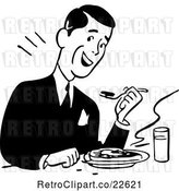 Vector Clip Art of Retro Guy Eating a Meal by BestVector