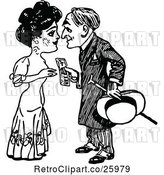 Vector Clip Art of Retro Guy Handing Money to a Lady by Prawny Vintage