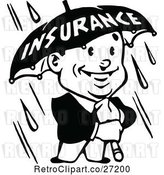 Vector Clip Art of Retro Guy Holding an Insurance Umbrella in the Rain by Prawny Vintage