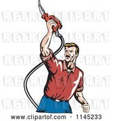 Vector Clip Art of Retro Guy Holding up a Gas Pump Fuel Nozzle by Patrimonio