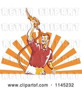 Vector Clip Art of Retro Guy Holding up a Gas Pump Fuel Nozzle over Rays by Patrimonio