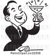Vector Clip Art of Retro Guy Laughing and Holding a Cocktail by BestVector