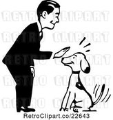 Vector Clip Art of Retro Guy Petting a Sitting Dog by BestVector