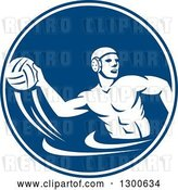 Vector Clip Art of Retro Guy Playing Water Polo in a Blue and White Circle by Patrimonio