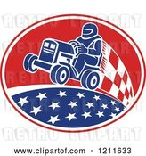 Vector Clip Art of Retro Guy Racing a Tractor in an Oval of Stars and Checkers by Patrimonio