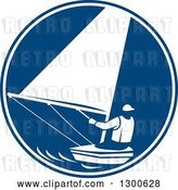 Vector Clip Art of Retro Guy Sailing in a Blue and White Circle by Patrimonio