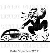 Vector Clip Art of Retro Guy Screaming by a Wrecked a Car by BestVector
