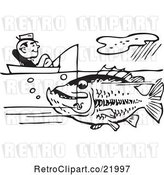 Vector Clip Art of Retro Guy Sitting in a Boat and Catching a Giant Fish by BestVector