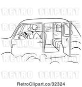 Vector Clip Art of Retro Guy Smoking a Cigar in a Car with an Open Door by Picsburg