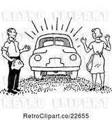 Vector Clip Art of Retro Guy Surprising a Lady with a New Car by BestVector