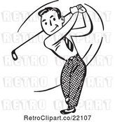 Vector Clip Art of Retro Guy Swinging a Golf Club by BestVector