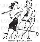 Vector Clip Art of Retro Guy Teaching a Lady to Golf by BestVector