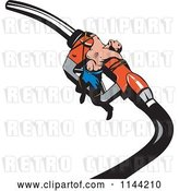 Vector Clip Art of Retro Guy Tied to a Gas Station Pump Nozzle by Patrimonio